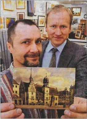 Böhnke und Graf mit Postkarte